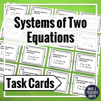 Systems of Two Equations Task Cards