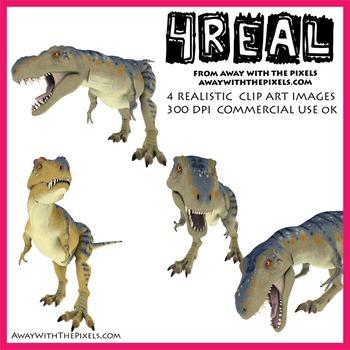 T-Rex - 4 Realistic Dinosaur Clip Art Images