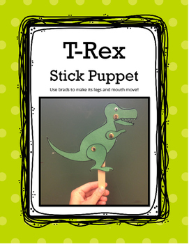 T-Rex Dinosaur Stick Puppet Craft with Movable Legs and Mo