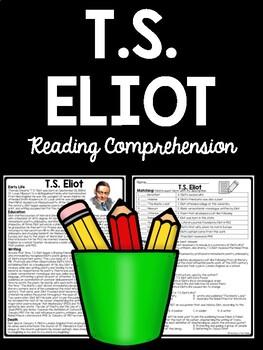 T.S. Eliot Biography Reading Comprehension Worksheet, Poetry