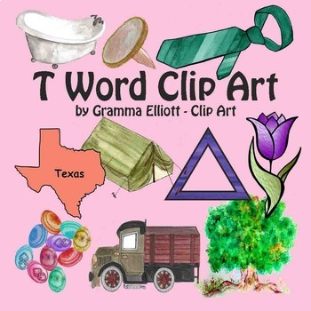T Word Clip Art - Color and Black Line