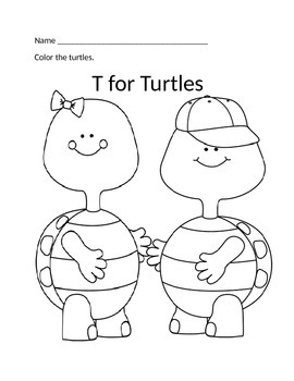 T for Turtles coloring page