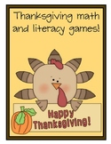 T is for Turkey! Thanksgiving Literacy and Math Games!