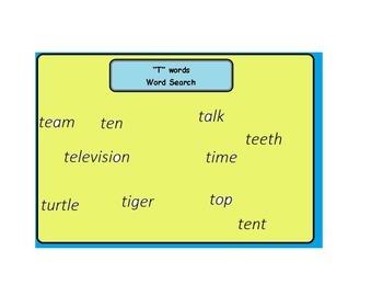 T words Worksheet