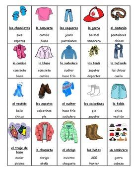 Spanish Game:  clothing/ la ropa TABOO