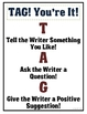 """""""TAG! You're It!"""" Writing Peer-Review (Poster & Record Sheets)"""