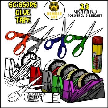 Classroom items - Tape, Glue, Scissors (bundle)