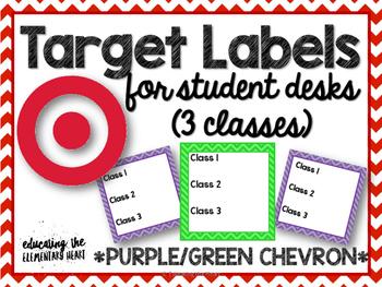 TARGET Desk Labels - Purple & Green Chevron (3 classes)