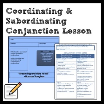 Middle School Grammar: Coordinating and Subordinating Conj