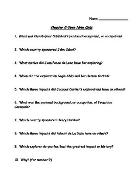 TCI's America's Past Chapter 5 Open Note Quiz