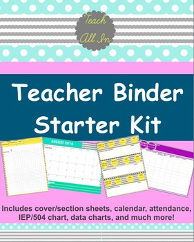 TEACHER BINDER STARTER KIT - with BONUS Chevron Background