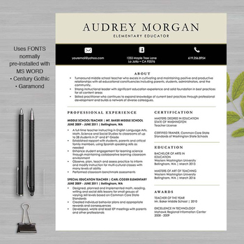 TEACHER RESUME Template For MS Word and Pages | + Educator