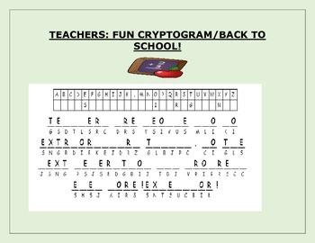 TEACHERS: FUN CRYPTOGRAM: BACK TO SCHOOL!