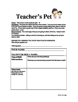 TEACHER'S PET WRITING/PRESENTING ACTIVITY: letting the stu