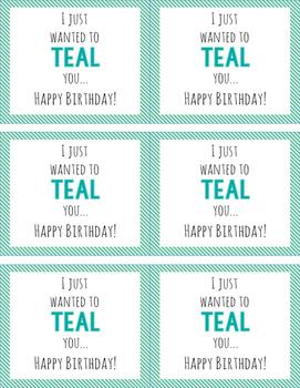TEAL Birthday Tags