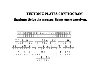 TECTONIC PLATES CRYPTOGRAM