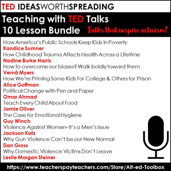 TED Talk 10 Lesson Bundle (TED Talks that inspire activism)