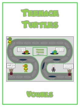 TEENAGE TURTLES Vowels- ELA First Grade Folder Game - Word