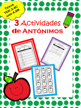 TEK 3.4B and 4.2 B: Antónimos / Antonyms in Spanish