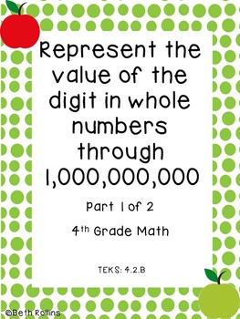 TEKS 4.2.B Represent the value of the digit through 1,000,