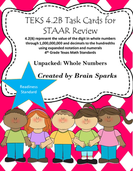 TEKS 4.2B Task Cards for STAAR Review - Whole Numbers 4th Grade