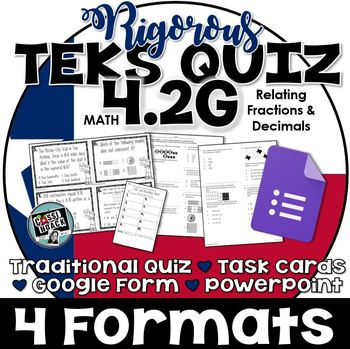TEKS 4.2G Quiz- 10 rigorous and dual-coded questions to as