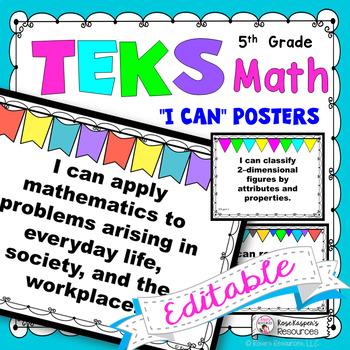 TEKS 5th Grade Math I Can Statements