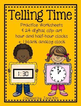 TELLING TIME~Practice Worksheets & Digital Hour/Half-Hour