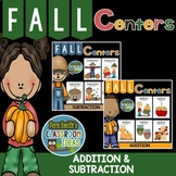 Addition and Subtraction Fall Math Center Games Bundle