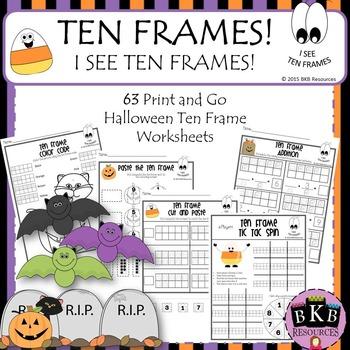 Halloween Ten Frames ● Halloween Activities ● No Prep ●Wor