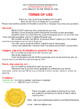 TERMS OF USE - Aitamama TpT Store - Revised April 6th 2014