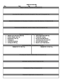 TESS-inspired Lesson Plan Template