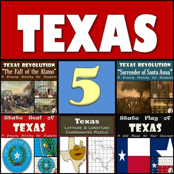 TEXAS - Texas Revolution Paintings, State Seal & Flag, and