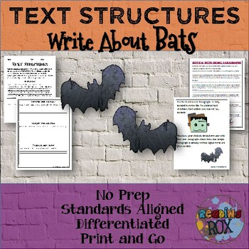 TEXT STRUCTURES review and write about BATS-Halloween Edition