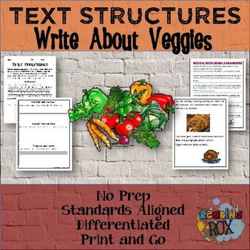 TEXT STRUCTURES review and write about VEGGIES-Thanksgivin