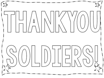 THANK YOU SOLDIERS! COLORING POSTER FOR YOUR PATRIOTIC CEL