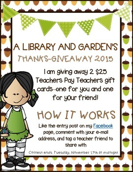 THANKS-GIVEAWAY 2015 - TPT Gift Card for You AND a Friend!