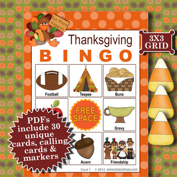 THANKSGIVING 3x3 BINGO