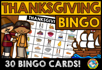 THANKSGIVING BINGO GAME FOR WHOLE CLASS: FIRST THANKSGIVIN