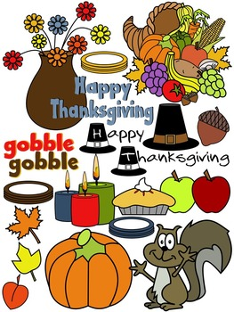 THANKSGIVING CLIP ART 2015 * COLOR AND BLACK AND WHITE