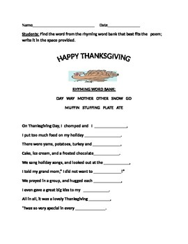 THANKSGIVING DAY RHYMING ACTIVITY