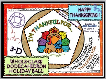 """THANKSGIVING """"I'M THANKFUL FOR"""" BALL: TEAM ACTIVITY (DODEC"""