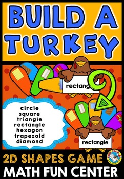 THANKSGIVING MATH CENTER: BUILD A TURKEY ACTIVITY: 2D SHAPES GAME