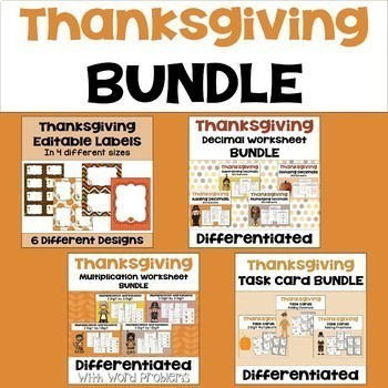 Thanksgiving Math Mega Bundle - Worksheets, Task Cards, an