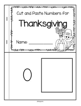 THANKSGIVING Numbers Cut and Paste 0-10 Little Book