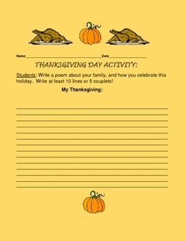 THANKSGIVING POEM FORM, GRADES 4-8