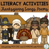 Thanksgiving Songs, Poems and Literacy Reading and Writing