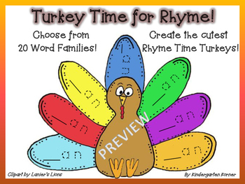 THANKSGIVING RHYME TIME TURKEYS!  Choose from 20 WORD FAMI
