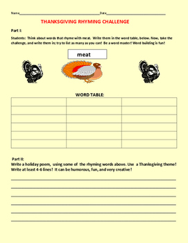 THANKSGIVING RHYMING CHALLENGE: GRADES 3-6, ESL, ELA ACTIVITY