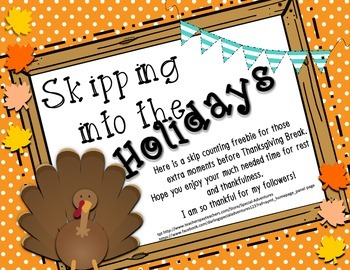 THANKSGIVING SKIP COUNTING FREEBIE 1'S,2'S, 5,'S 10'S 6'S